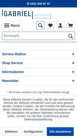 Vorschau der mobilen Webseite www.verpackungen-gabriel.com, Gabriel GmbH
