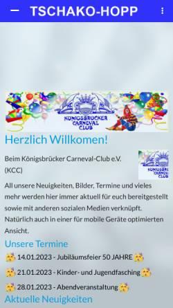 Vorschau der mobilen Webseite tschako-hopp.de, Königsbrücker Carnevalsclub e.V.