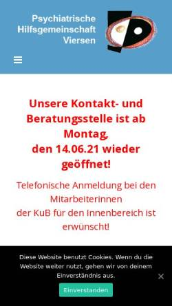 Vorschau der mobilen Webseite www.phg-viersen.de, Psychiatrische Hilfsgemeinschaft Viersen e.V. (PHG)