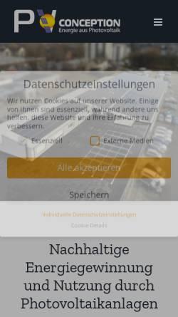 Vorschau der mobilen Webseite www.pv-conception.de, PV Conception GmbH
