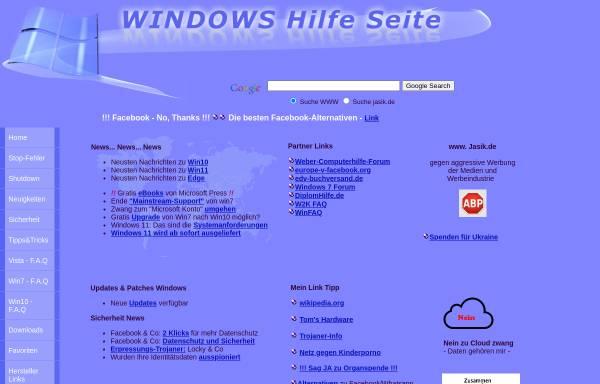 Vorschau von www.jasik.de, Windows Hilfe Seite