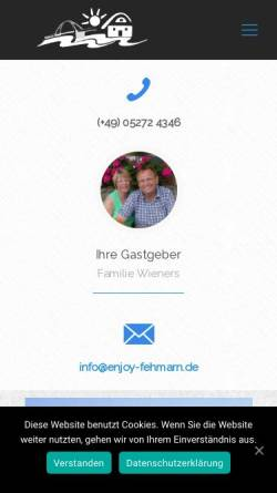 Vorschau der mobilen Webseite www.enjoy-fehmarn.de, Enjoy Fehmarn