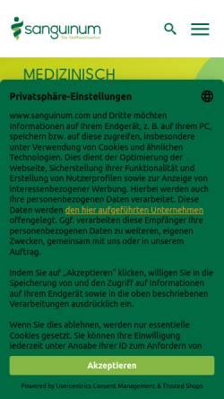 Vorschau der mobilen Webseite www.sanguinum.com, Sanguinum Gesundheitszentrum Uhlenhorst