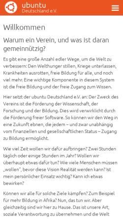 Vorschau der mobilen Webseite verein.ubuntu-de.org, Ubuntu Deutschland e. V.