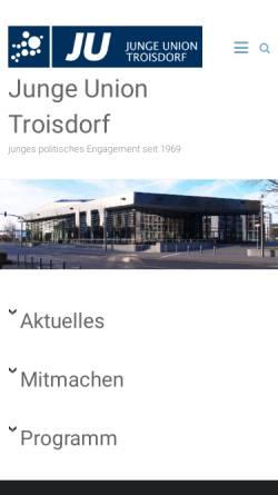 Vorschau der mobilen Webseite www.ju-troisdorf.de, Junge Union Troisdorf