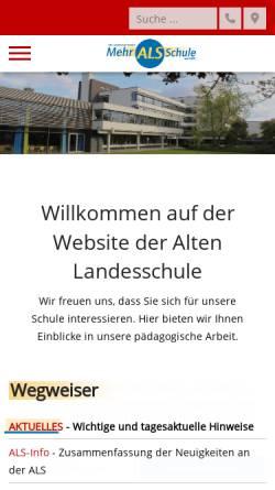 Vorschau der mobilen Webseite www.alte-landesschule.de, Alte Landesschule, Gymnasium seit 1579