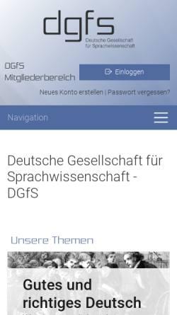 Vorschau der mobilen Webseite dgfs.de, Deutsche Gesellschaft für Sprachwissenschaft (DGfS)