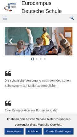 Vorschau der mobilen Webseite www.dsmallorca.de, Deutsche Schule Mallorca Eurocampus
