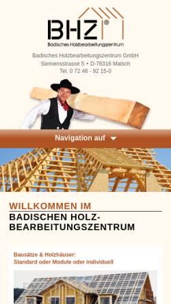 Vorschau der mobilen Webseite www.bhz-gmbh.de, Badisches Holzbearbeitungszentrum