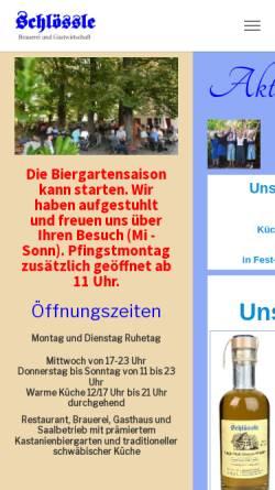 Vorschau der mobilen Webseite www.schloessle.com, Brauerei-Gasthaus Schloessle