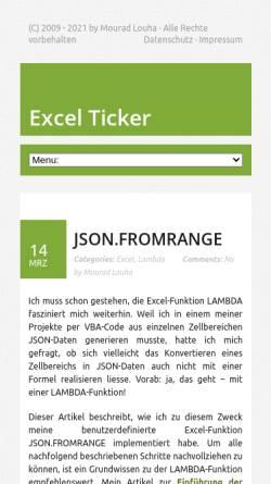 Vorschau der mobilen Webseite excel-ticker.de, Excel Ticker