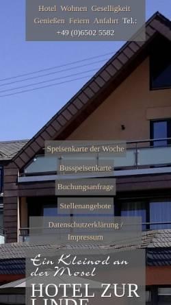 Vorschau der mobilen Webseite hotelzurlinde-longuich.de, Hotel zur Linde
