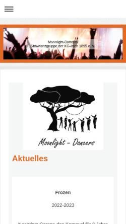 Vorschau der mobilen Webseite www.moonlight-dancers.com, Moonlight-Dancers Neuwied