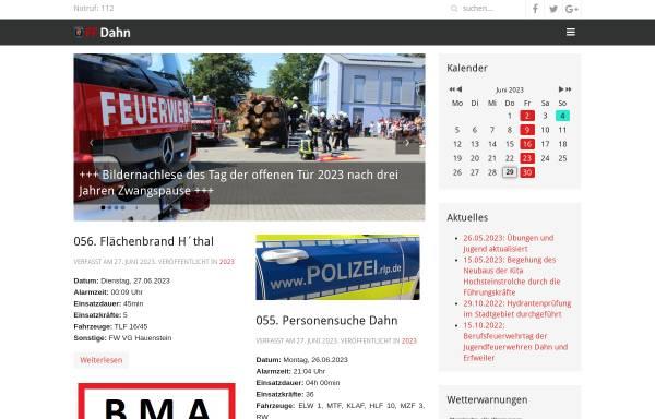 Vorschau von feuerwehr-dahn.de, Freiwillige Feuerwehr Dahn