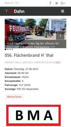 Vorschau der mobilen Webseite feuerwehr-dahn.de, Freiwillige Feuerwehr Dahn