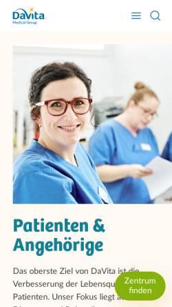 Vorschau der mobilen Webseite www.davita.de, Davita - Medizinische Produkte GmbH & Co. KG