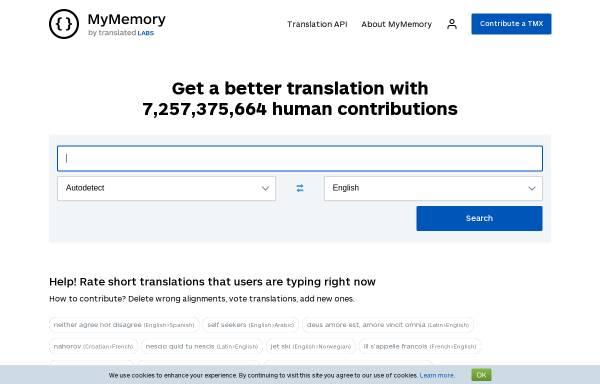 Vorschau von mymemory.translated.net, MyMemory