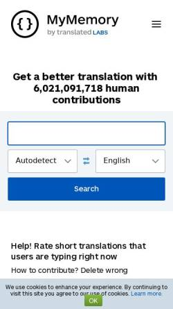 Vorschau der mobilen Webseite mymemory.translated.net, MyMemory