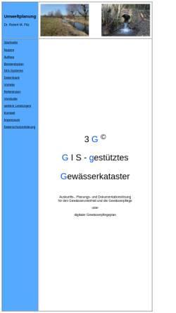 Vorschau der mobilen Webseite www.gewaesserkataster.de, Umweltplanung Dr. Robert M. Fitz