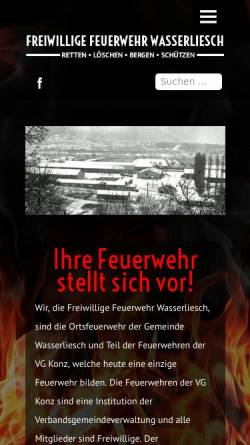 Vorschau der mobilen Webseite www.feuerwehr-wasserliesch.de, Freiwillige Feuerwehr Wasserliesch