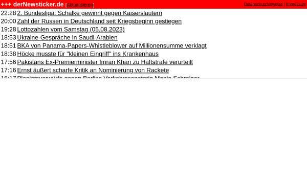 Vorschau von www.dernewsticker.de, DerNewsticker.de