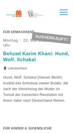 Vorschau der mobilen Webseite www.literaturhaus-koeln.de, Literaturhaus Köln e.V.