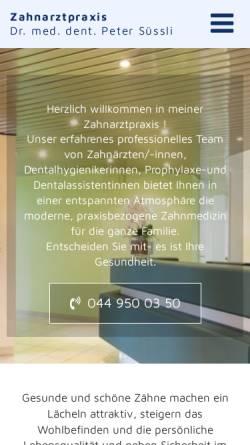 Vorschau der mobilen Webseite www.zahnarzt-pfaeffikon.ch, Dr. med. dent.Peter Süssli
