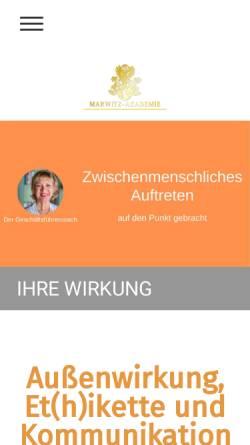 Vorschau der mobilen Webseite marwitz-akademie.de, SfU Schule für Umgangsformen - Friederike von der Marwitz