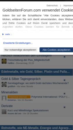 Vorschau der mobilen Webseite www.goldseiten-forum.de, GoldSeiten-Forum