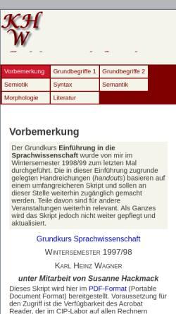 Vorschau der mobilen Webseite www.fb10.uni-bremen.de, Materialien zur Einführung in die Sprachwissenschaft