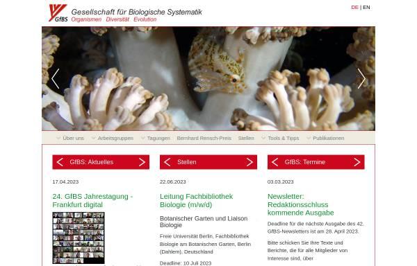 Vorschau von www.gfbs-home.de, Gesellschaft für Biologische Systematik