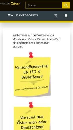 Vorschau der mobilen Webseite www.muenzhandel-ortner.de, Münzhandel Ortner, Hubert Ortner