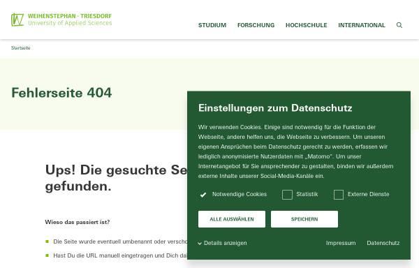 Vorschau von www.hswt.de, Staatliche Forschungsanstalt für Gartenbau Weihenstephan