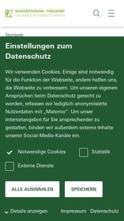 Vorschau der mobilen Webseite www.hswt.de, Staatliche Forschungsanstalt für Gartenbau Weihenstephan