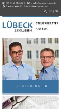 Vorschau der mobilen Webseite www.luebeckonline.com, LÜBECK StB RAe GbR