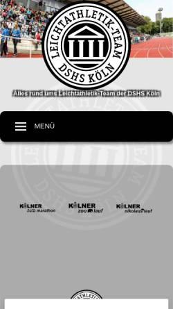 Vorschau der mobilen Webseite www.koelner-leichtathletik.de, LG ASV DSHS Köln