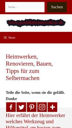 Vorschau der mobilen Webseite www.perfektheimwerken.de, Perfekt Heimwerken
