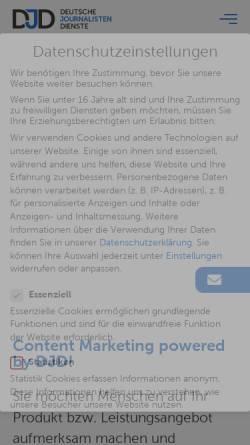 Vorschau der mobilen Webseite www.djd.de, Djd - deutsche journalisten dienste