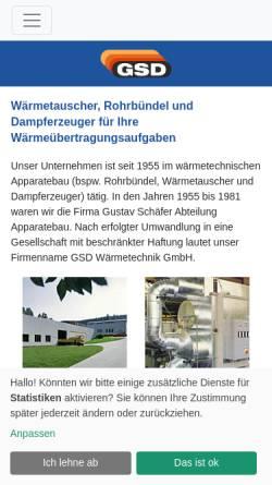 Vorschau der mobilen Webseite www.gsdwaermetechnik.de, GSD Wärmetechnik GmbH