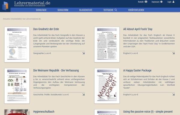 Lehrermaterial.de: Unterrichtsfächer, Schule lehrermaterial.de