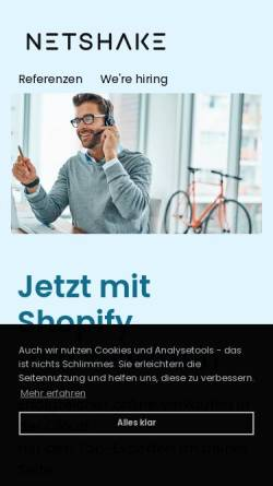 Vorschau der mobilen Webseite www.netshake.de, Netshake Medien und Technologie GmbH