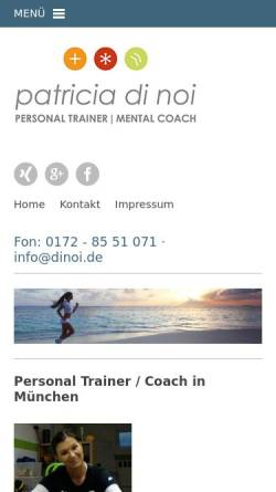 Vorschau der mobilen Webseite www.patriciadinoi.de, Patricia di Noi - Personal Training & Coaching München
