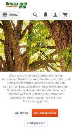 Vorschau der mobilen Webseite www.bentele-shop.de, Edwin Bentele