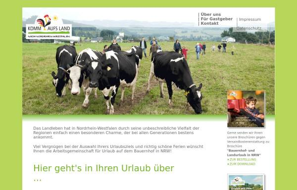 Vorschau von www.komm-aufs-land.de, Komm aufs Land - Arbeitsgemeinschaft für Urlaub auf dem Bauernhof in NRW e.V.