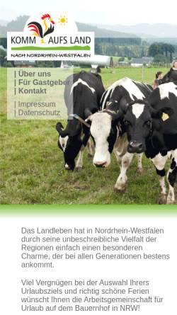 Vorschau der mobilen Webseite www.komm-aufs-land.de, Komm aufs Land - Arbeitsgemeinschaft für Urlaub auf dem Bauernhof in NRW e.V.