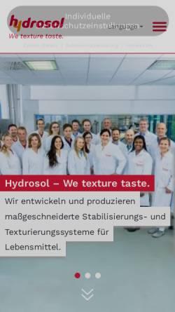 Vorschau der mobilen Webseite www.hydrosol.de, Hydrosol Produktionsges. mbH & Co. KG
