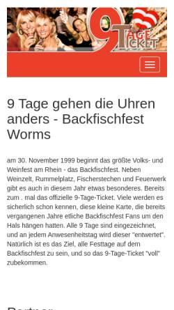 Vorschau der mobilen Webseite 9tageticket.de, 9-Tage-Ticket zum Backfischfest