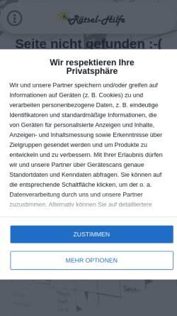 Vorschau der mobilen Webseite www.raetsel-hilfe.de, Rätsel-Hilfe