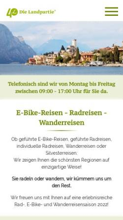 Vorschau der mobilen Webseite www.dielandpartie.de, Die Landpartie Radeln und Reisen GmbH
