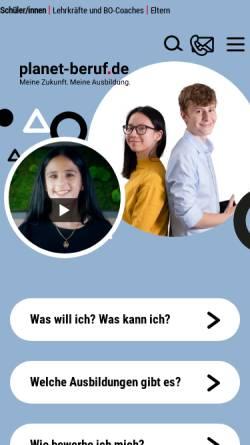 Vorschau der mobilen Webseite www.planet-beruf.de, Planet Beruf.de